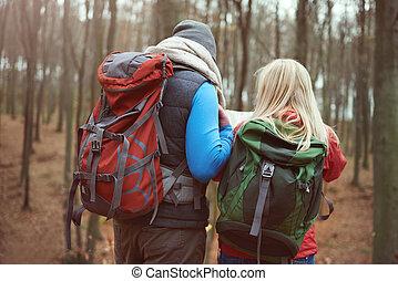 couple, arrière, randonnée, vue