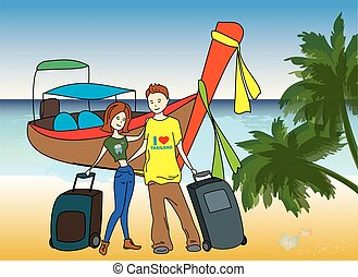 Couple arrived on holiday on the beach