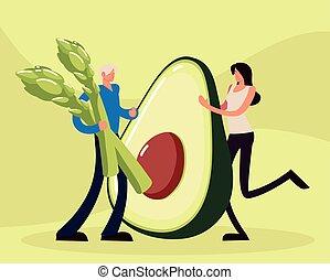 couple asparagus avocado