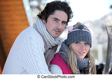 Couple at a ski lodge