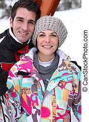 Couple at a ski resort