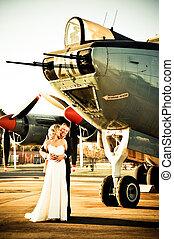 couple at Albatross war aircraft