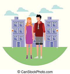 Couple at city cartoon