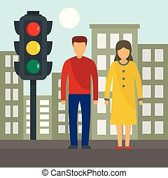 Couple at crosswalk concept background, flat style