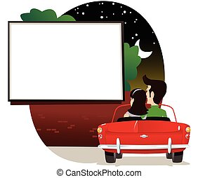 A young couple watching a film at a drive in cinema. Screen is blank for your own message.