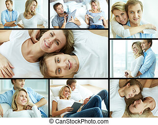 Couple at home - Collage of young couple spending time at...