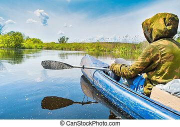 Couple at kayak trip on blue river