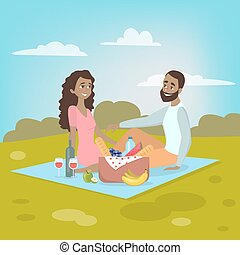 Couple at picnic.