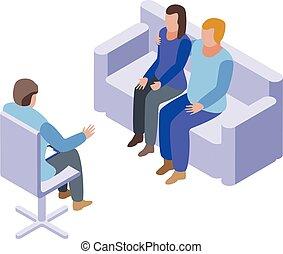 Couple at psychologist icon, isometric style