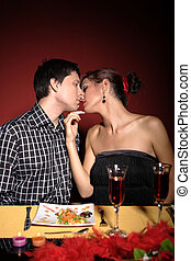 Couple at restaurant on dinner party - Couple at restaurant...