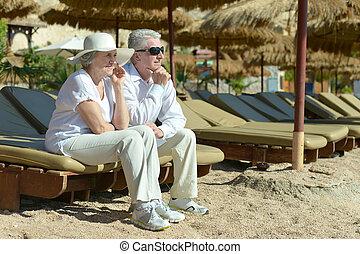Couple at sea beach