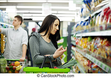 Couple at supermarket