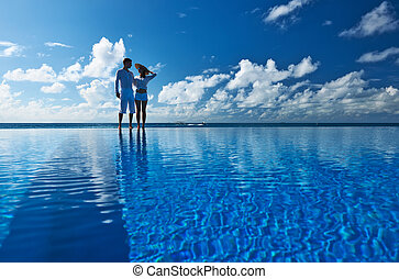 Couple at the poolside against sky