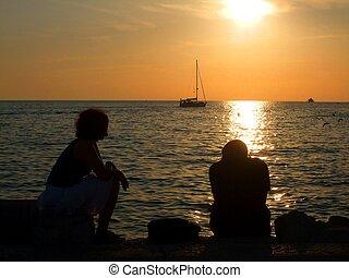 Couple at the sea coast