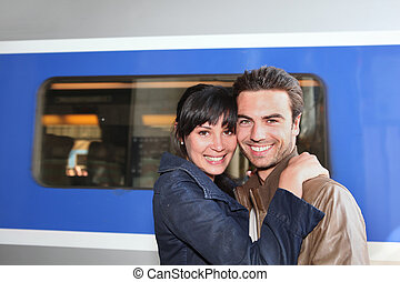 couple at the train station