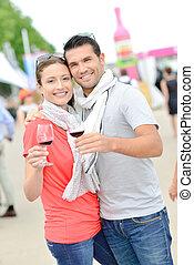 couple at wine fare