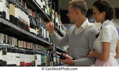 Couple at wine store