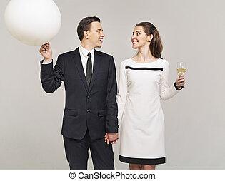 couple, autre, dévisager, intelligent, chaque