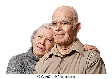 couple, autre, embrasser, portrait, personne agee, heureux