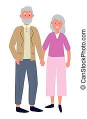 couple, avatar, personnes agées