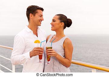 couple, avoir, bateau, cocktail, croisière