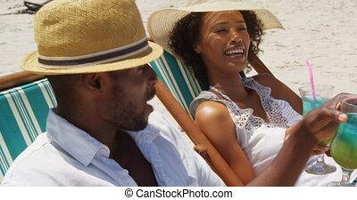 couple, avoir, boissons, cocktail, plage, 4k