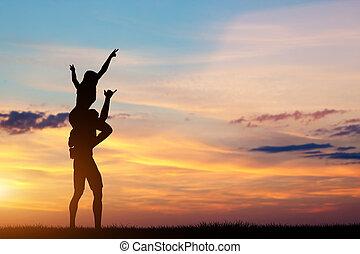 couple, avoir, heureux, temps, ensemble, à, sunset.