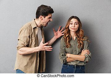 couple, avoir, jeune, malheureux, argument