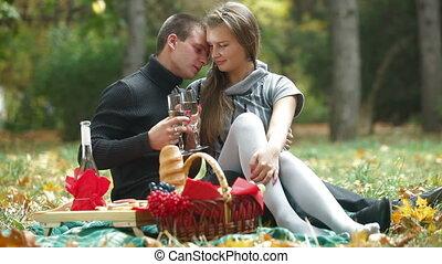 couple, avoir pique-nique