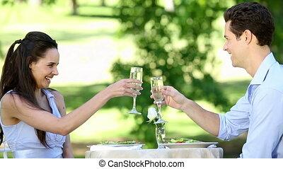 couple, avoir, repas, romantique, ensemble