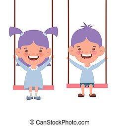 couple baby in swing smiling on white background