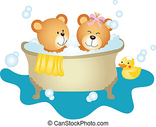 couple, bain, prendre, ours, teddy