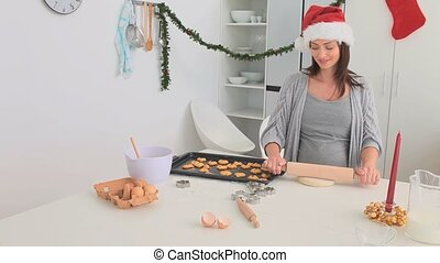 Couple baking on Chrismas day