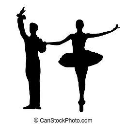 Couple ballet dancers