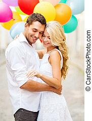 couple, ballons, coloré
