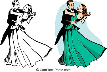 Couple Ballroom Dancing - A couple in a tux and ball gown...