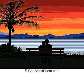 couple, banc, coucher soleil, séance