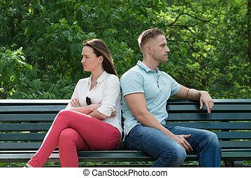 couple, banc, dos, séance