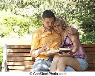 couple, banc, parc, séance