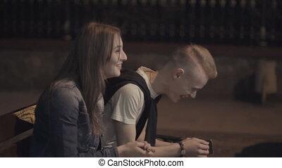 couple, banc, rire, quoique, séance