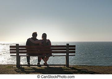 couple, banc, vue, délassant, océan