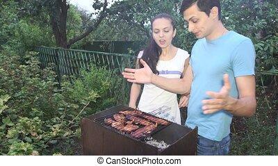 couple, barbecue.