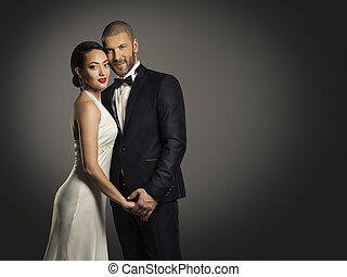 Couple Beauty Portrait, Handsome Man Well Dressed Black Suit and Beautiful Woman in White Dress