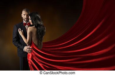 Couple Beauty Portrait, Man in Suit Woman in Red Dress Rich...