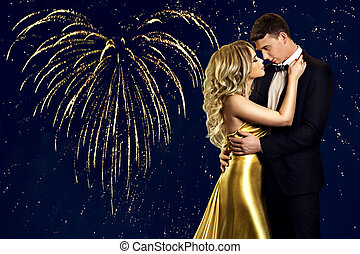 Couple Beauty Portrait over heart fireworks, Young Fashion Woman and Man Kissing, Valentines Day Celebration