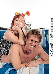 Couple, bedroom grooming