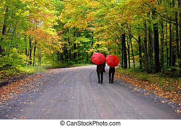 Couple beneath Red Umbrellas - Retired couple stroll beneath...