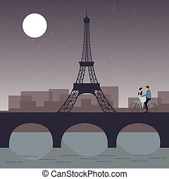 couple bicycle in paris with eiffel tower romantic night city sky moon the bridge