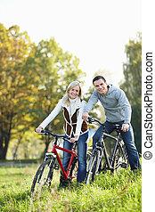 couple, bicycles