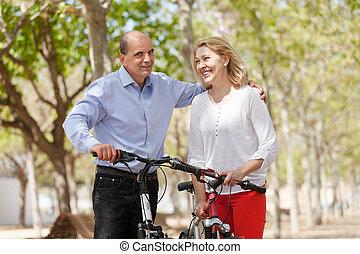 couple, bicycles, marche, heureux